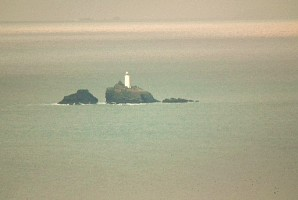 Godrevy lighthouse, as seen by telephoto from Trencrom Hill