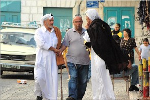 Two Bedouin meeting a Palestinian Christian, Bethlehem, Palestine. Photo Bthlm-ppl_10438