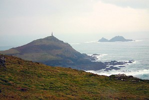 Cape Cornwall. Behind, the Brisons.